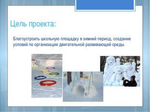 Цель проекта: Благоустроить школьную площадку в зимний период, создание услов