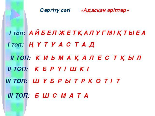Сергіту сәті «Адасқан әріптер» І топ: А Й Б Е Л Ж Е Т Қ А Л У Г М І Қ Т Ы Е А...