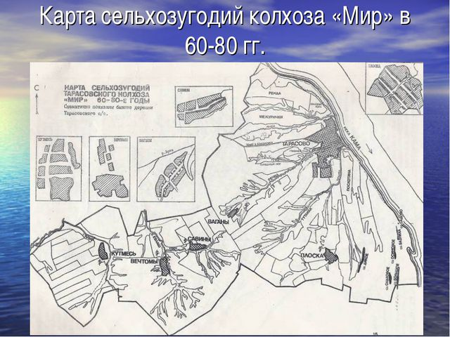 Карта сельхозугодий колхоза «Мир» в 60-80 гг.