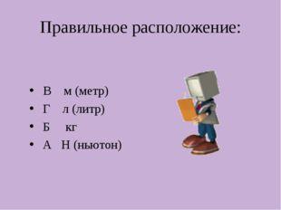Правильное расположение: В м (метр) Г л (литр) Б кг А Н (ньютон)