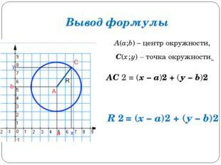 Вывод формулы А(а;b) – центр окружности, С(х ; у) – точка окружности. АС 2 =