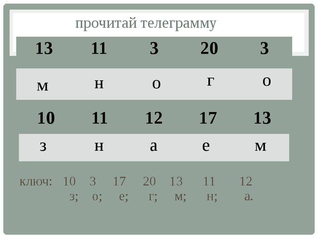 прочитай телеграмму ключ: 10 3 17 20 13 11 12 з; о; е; г; м; н; а. м н о г о...