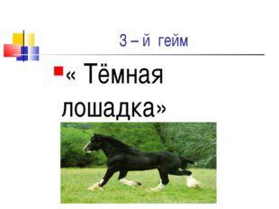 3 – й гейм « Тёмная лошадка»