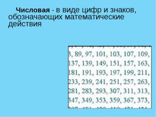 Числовая - в виде цифр и знаков, обозначающих математические действия