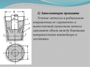 2) Заполняющая прошивка Течение металла в радиальном направлении не ограничен