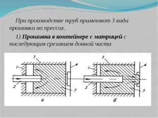 При производстве труб применяют 3 вида прошивки на прессах. 1) Прошивка в кон