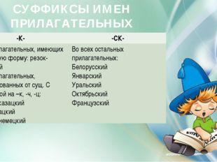 СУФФИКСЫ ИМЕН ПРИЛАГАТЕЛЬНЫХ -К- -СК- В прилагательных, имеющих краткую форм