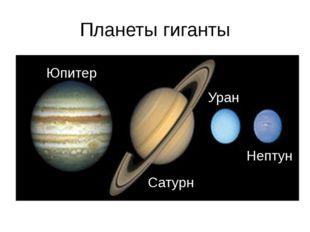 Планеты гиганты Юпитер Сатурн Уран Нептун