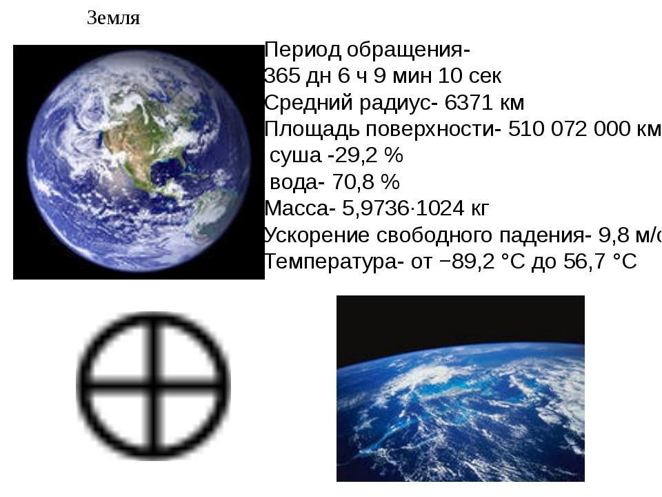 Земля Период обращения- 365 дн 6 ч 9 мин 10 сек Средний радиус- 6371 км Площа...