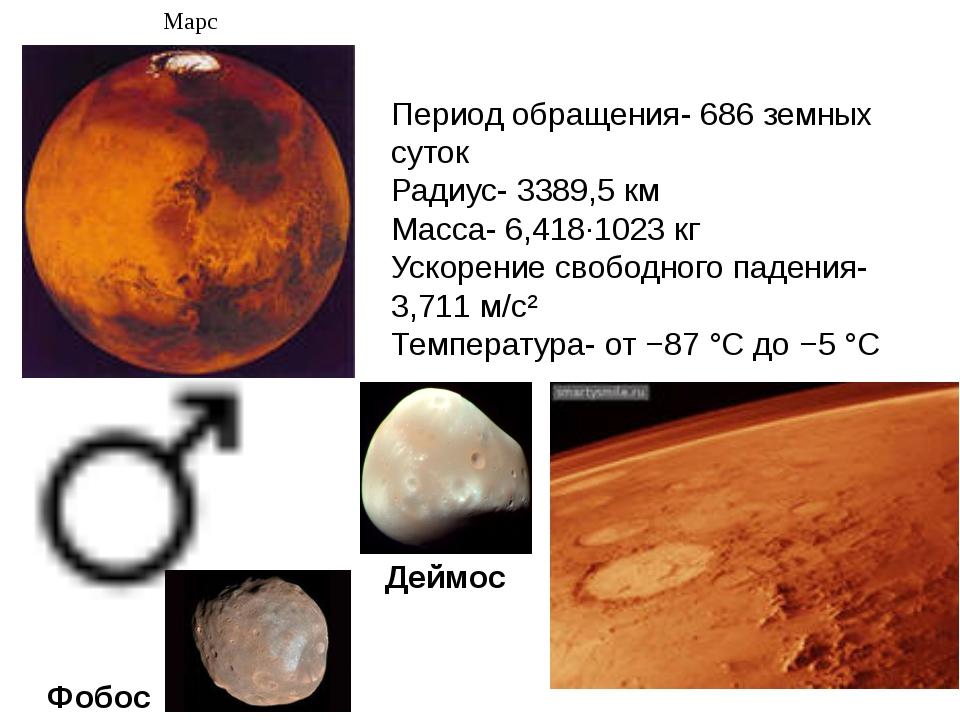Марс Период обращения- 686 земных суток Радиус- 3389,5 км Масса- 6,418·1023к...