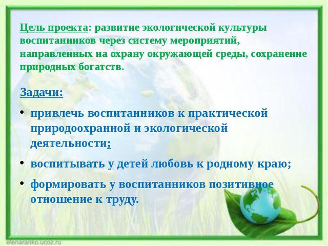 Цель проекта: развитие экологической культуры воспитанников через систему мер...
