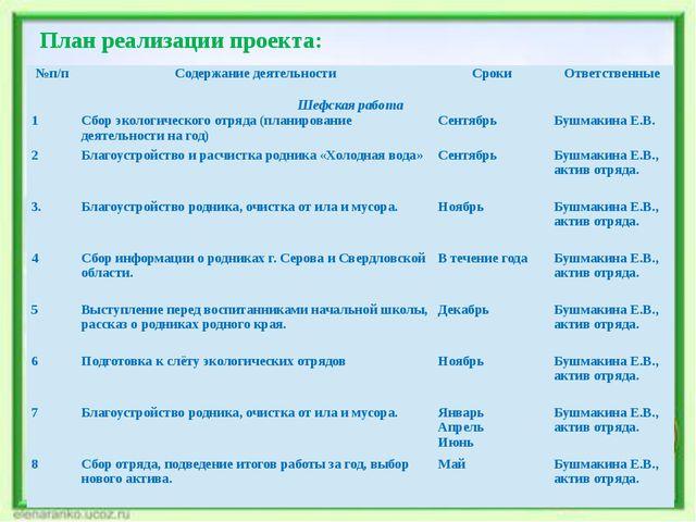 План реализации проекта: №п/п Содержание деятельности Сроки Ответственные Шеф...