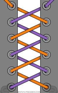 двухцветная шнуровка двумя шнурками на каждом узелок