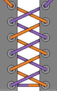 двухцветная шнуровка специальными двухцветными шнурками