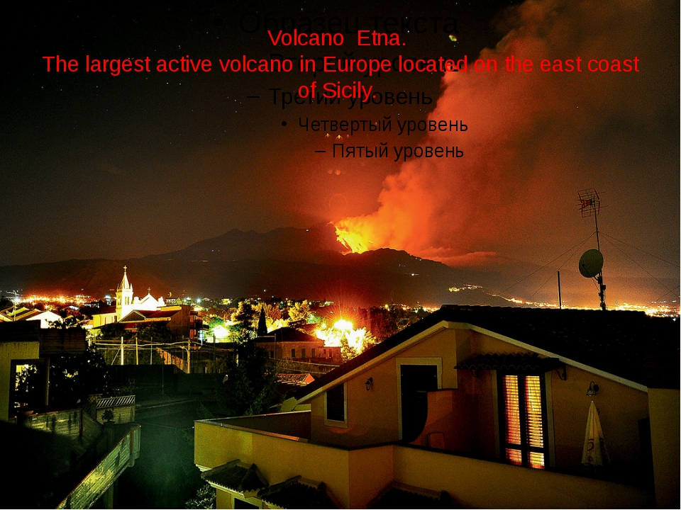 Volcano Etna. The largest active volcano in Europe located on the east coast...