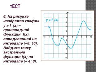 тЕСТ у = f ′(x) 6. На рисунке изображен график у = f ′(x)– производной функц