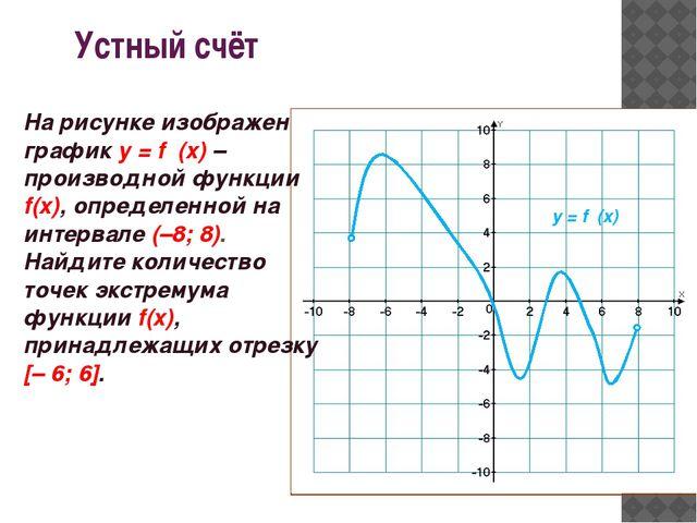 Устный счёт у = f ′(x) На рисунке изображен график у = f ′(x)– производной ф...