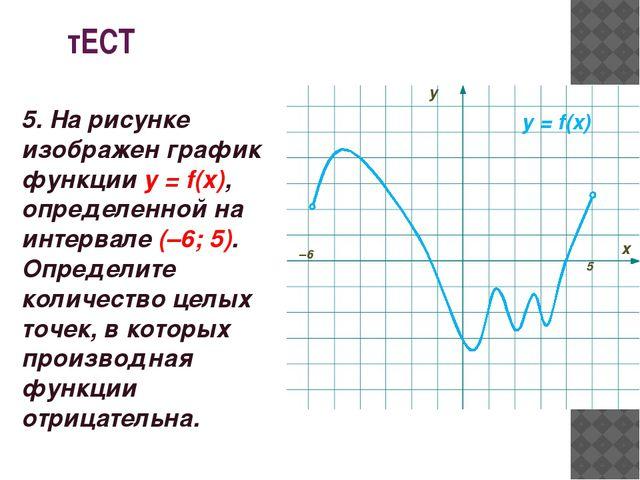 тЕСТ у = f(x) –6 5 у х 5. На рисунке изображен график функции у = f(x), опред...
