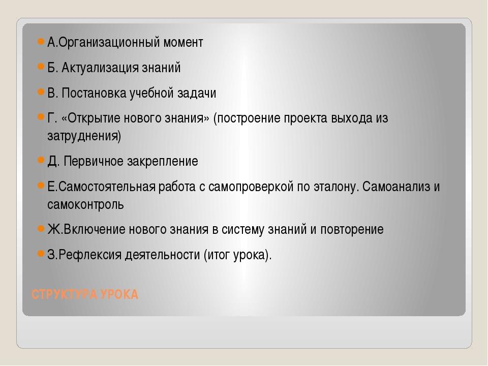 СТРУКТУРА УРОКА  А.Организационный момент Б. Актуализация знаний В. Постан...