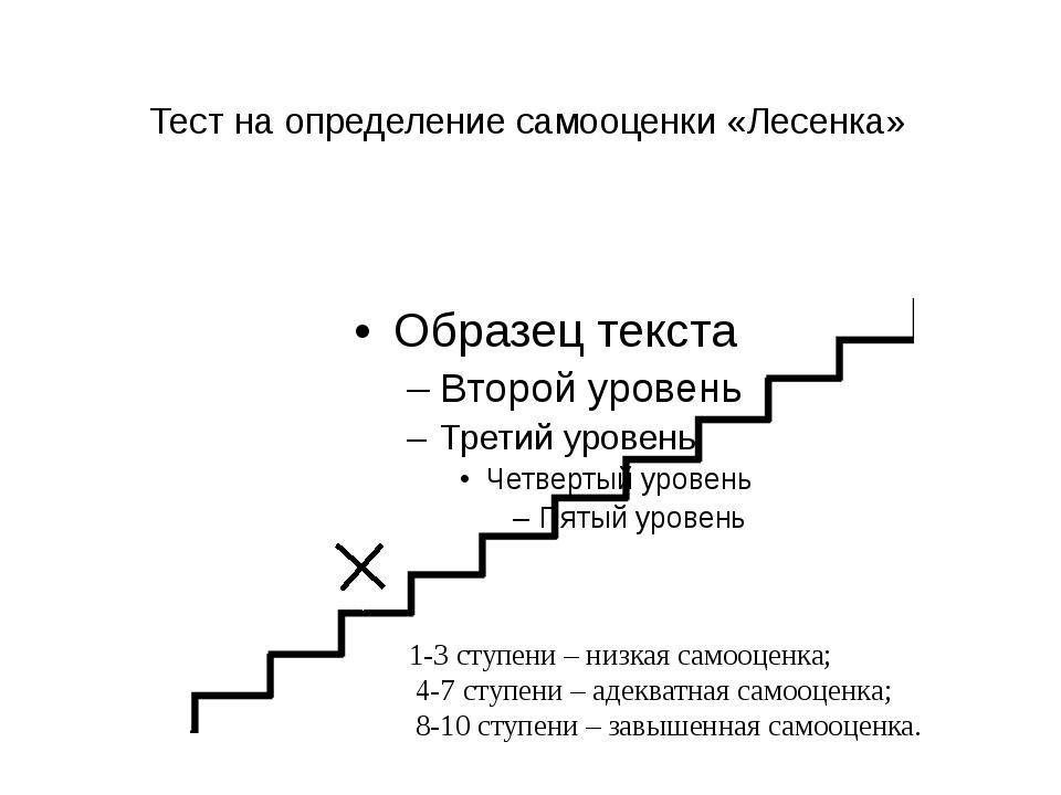 Тест на определение самооценки «Лесенка» 1-3 ступени – низкая самооценка; 4-7...