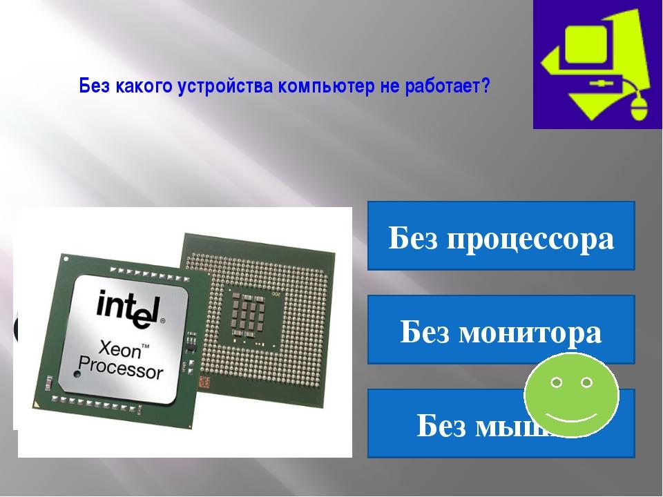 Без какого устройства компьютер не работает? Без процессора Без монитора Без...
