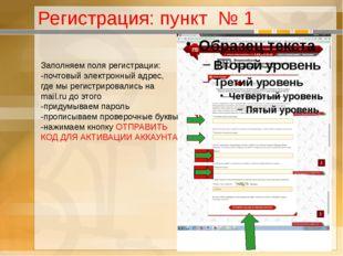 Регистрация: пункт № 1 Заполняем поля регистрации: -почтовый электронный адре