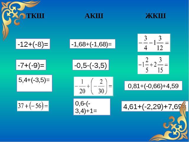 ТКШ АКШ ЖКШ -1,68+(-1,68)= -12+(-8)= -7+(-9)= -0,5-(-3,5) 5,4+(-3,5)= 0,81+(...