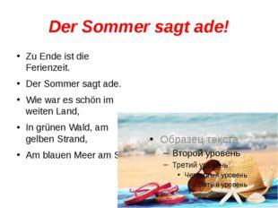 Der Sommer sagt ade! Zu Ende ist die Ferienzeit. Der Sommer sagt ade. Wie war
