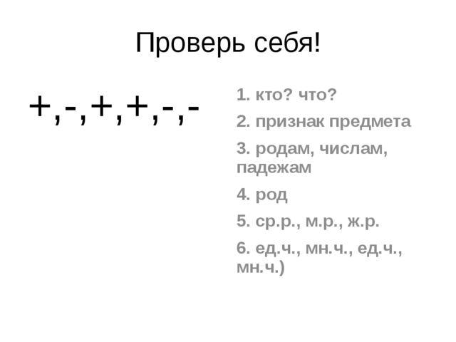 Проверь себя! +,-,+,+,-,- 1. кто? что? 2. признак предмета 3. родам, числам,...