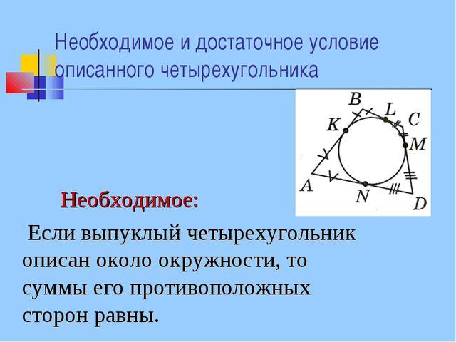 Необходимое и достаточное условие описанного четырехугольника Необходимое: Ес...
