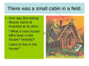 There was a small cabin in a field. One day Burrowing Mouse came & knocked at