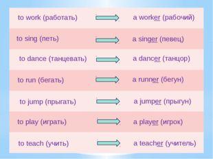 to work (работать) a worker (рабочий) to sing (петь) a singer (певец) to danc