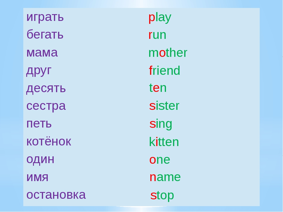 play run mother friend ten sister sing kitten one name stop играть бегать мам...