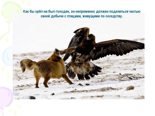 Как бы орёл ни был голоден, он непременно должен поделиться частью своей добы...