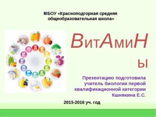 ВитАмиНы Презентацию подготовила учитель биологии первой квалификационной кат