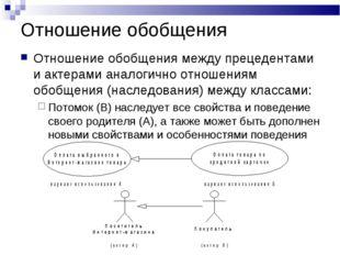 Отношение обобщения Отношение обобщения между прецедентами и актерами аналоги
