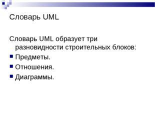 Словарь UML Словарь UML образует три разновидности строительных блоков: Предм