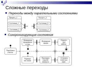 Сложные переходы Переходы между параллельными состояниями Синхронизирующие со