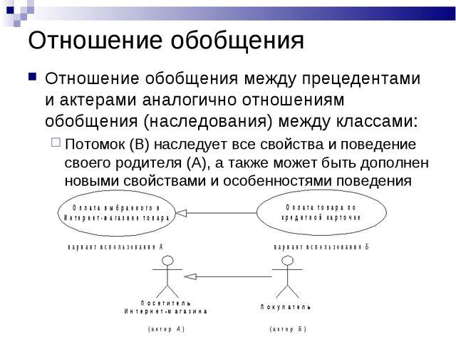 Отношение обобщения Отношение обобщения между прецедентами и актерами аналоги...