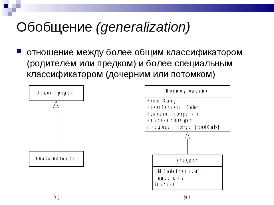 Обобщение (generalization) отношение между более общим классификатором (родит...