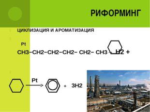 РИФОРМИНГ ЦИКЛИЗАЦИЯ И АРОМАТИЗАЦИЯ Pt CH3−CH2−CH2−CH2− CH2− CH3→ H2 + + 3H2 Pt
