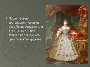 Мария Терезия эрцгерцогиня Австрии, мать Марии Антуанетты в 1743 - 1745 г. У