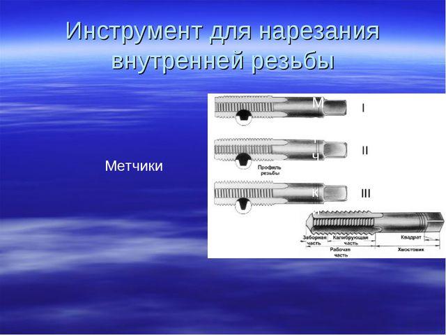 Инструмент для нарезания внутренней резьбы Метчики Метчики