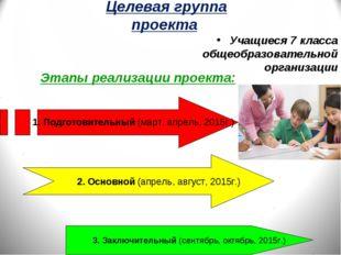 Целевая группа проекта Учащиеся 7 класса общеобразовательной организации Этап