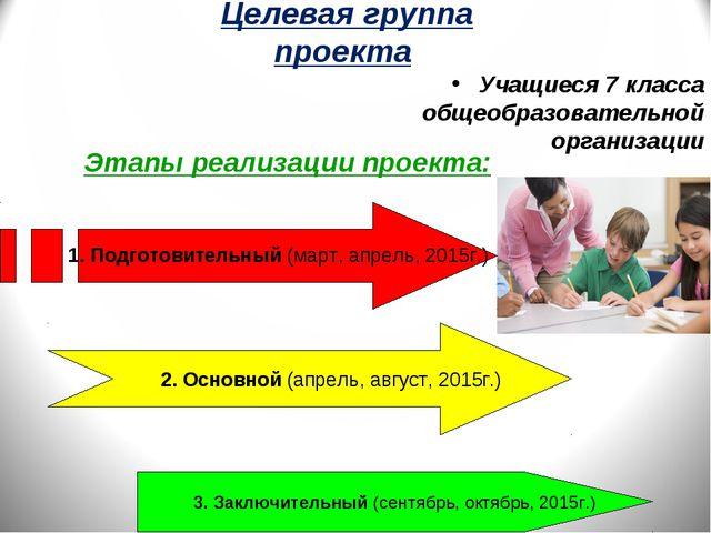 Целевая группа проекта Учащиеся 7 класса общеобразовательной организации Этап...