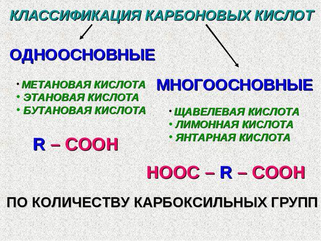 КЛАССИФИКАЦИЯ КАРБОНОВЫХ КИСЛОТ ОДНООСНОВНЫЕ МНОГООСНОВНЫЕ МЕТАНОВАЯ КИСЛОТА...