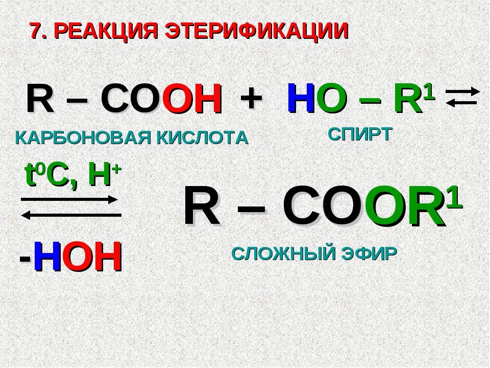 7. РЕАКЦИЯ ЭТЕРИФИКАЦИИ R – COOH + HO – R1 R – COOR1 -HOH t0C, H+ СЛОЖНЫЙ ЭФИ...