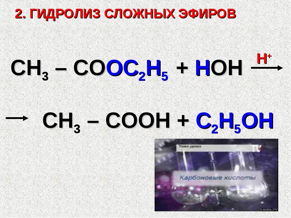 2. ГИДРОЛИЗ СЛОЖНЫХ ЭФИРОВ СН3 – СООС2Н5 + НОН Н+ СН3 – СООН + С2Н5ОН