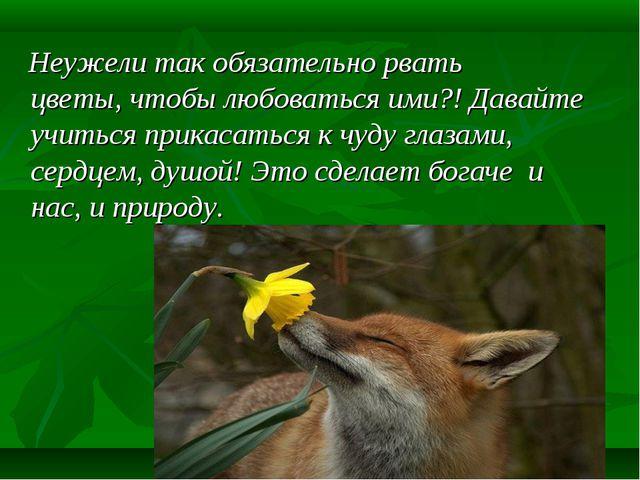 Неужели так обязательно рвать цветы, чтобы любоваться ими?! Давайте учиться...