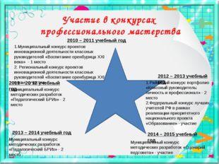 Участие в конкурсах профессионального мастерства 2010 – 2011 учебный год 2011